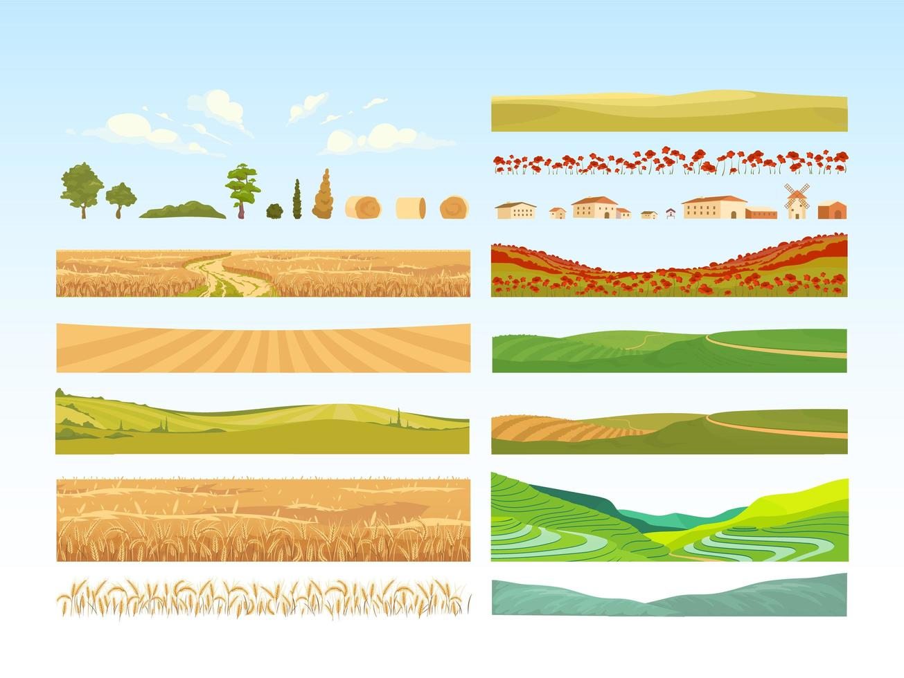Agriculture objects set vector