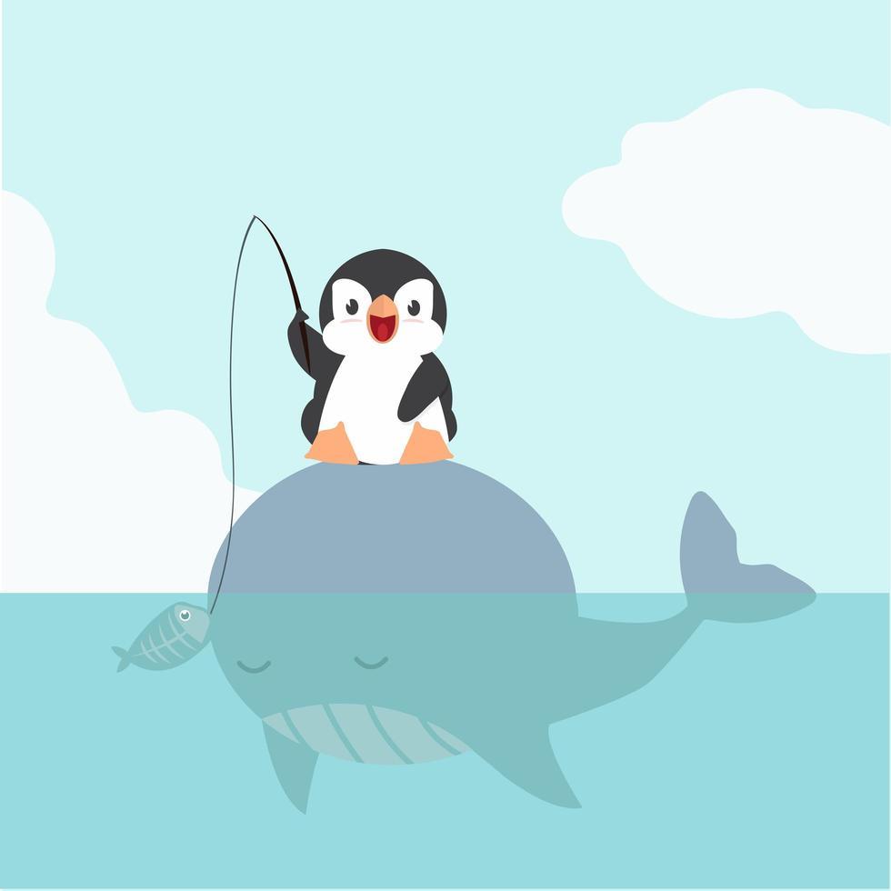 pingüino sentado en ballena grande vector