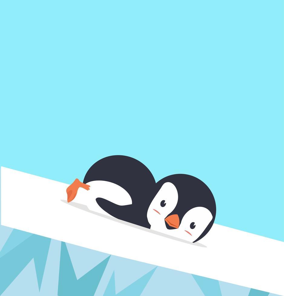 diapositiva de pingüino sobre hielo vector