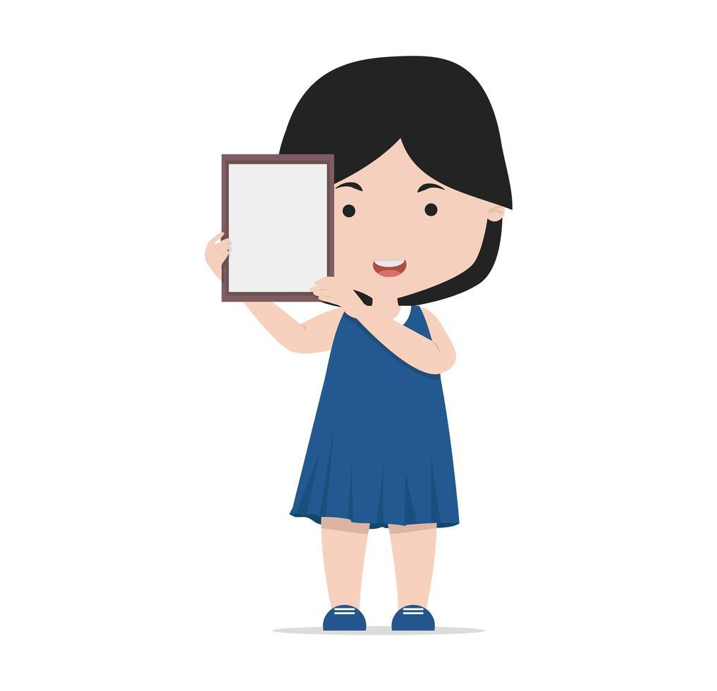 niña pequeña sosteniendo un marco en blanco vector