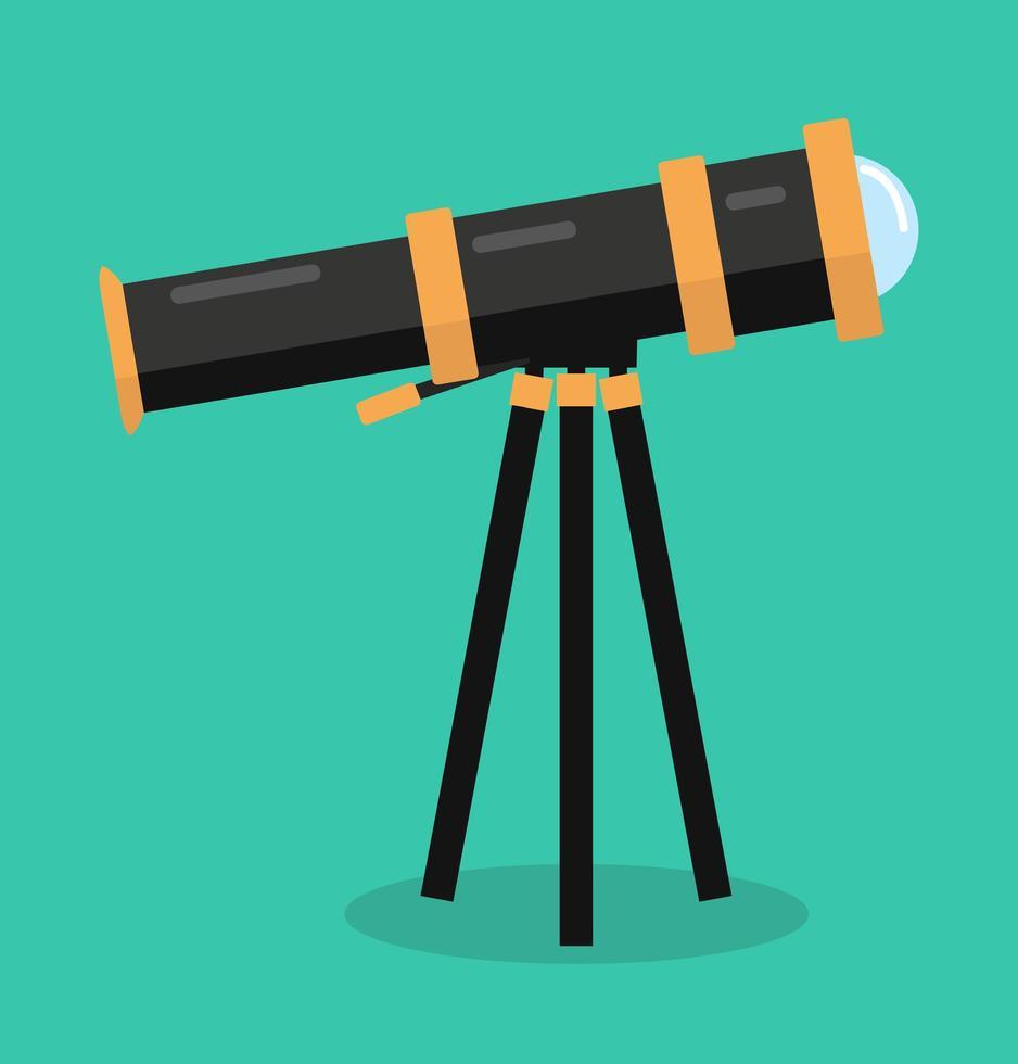 diseño plano de vector de telescopio