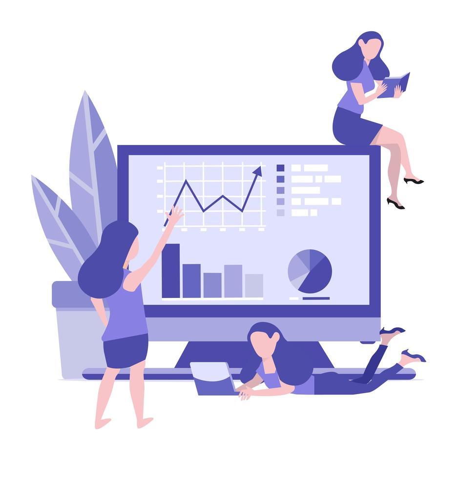 Las mujeres construyen un monitor con gráficos y situaciones de oficina. vector