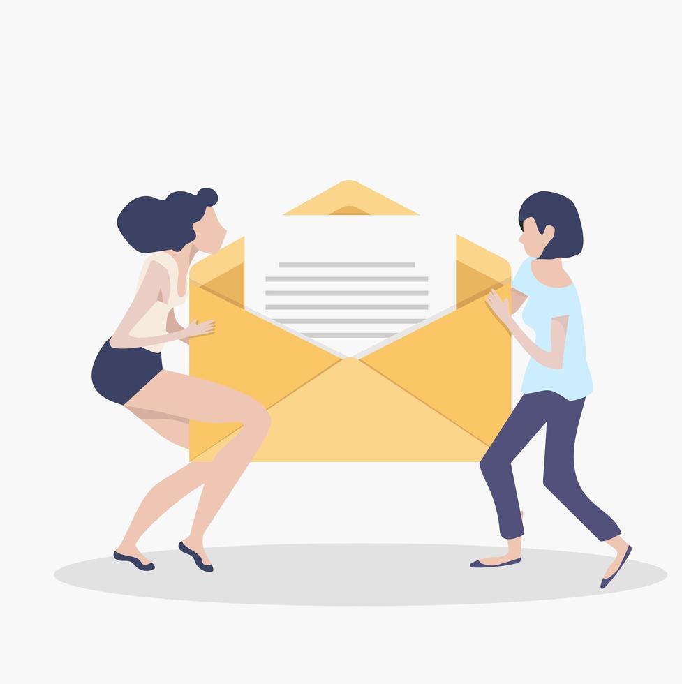 Women holding newsletter in opening envelope teamwork concept vector