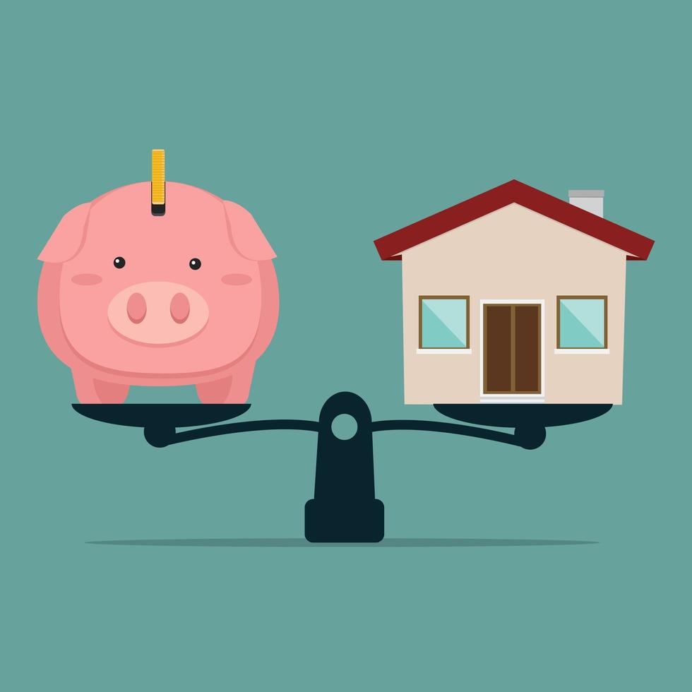 alcancía y casa en balanza vector