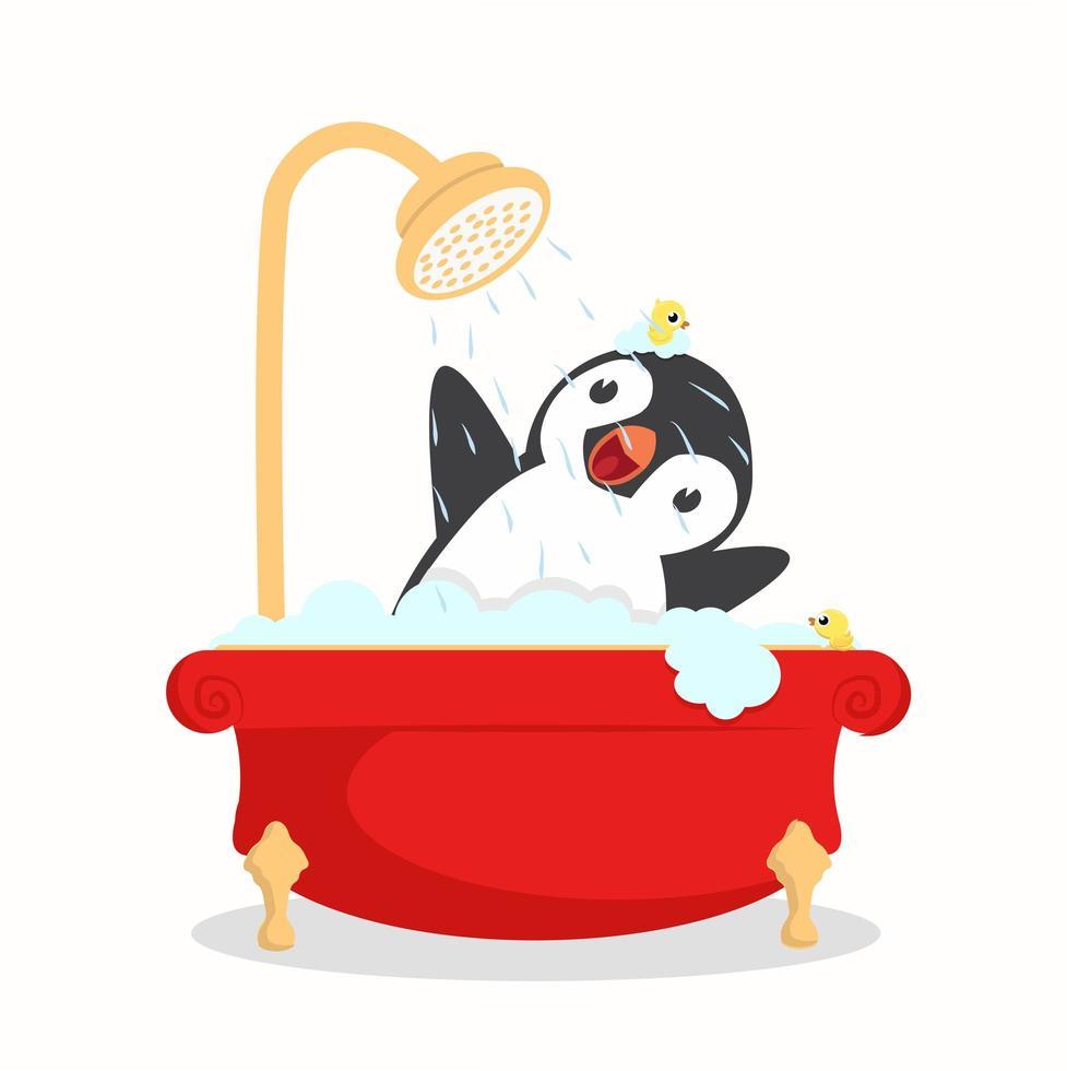 baño de pingüinos con espuma vector