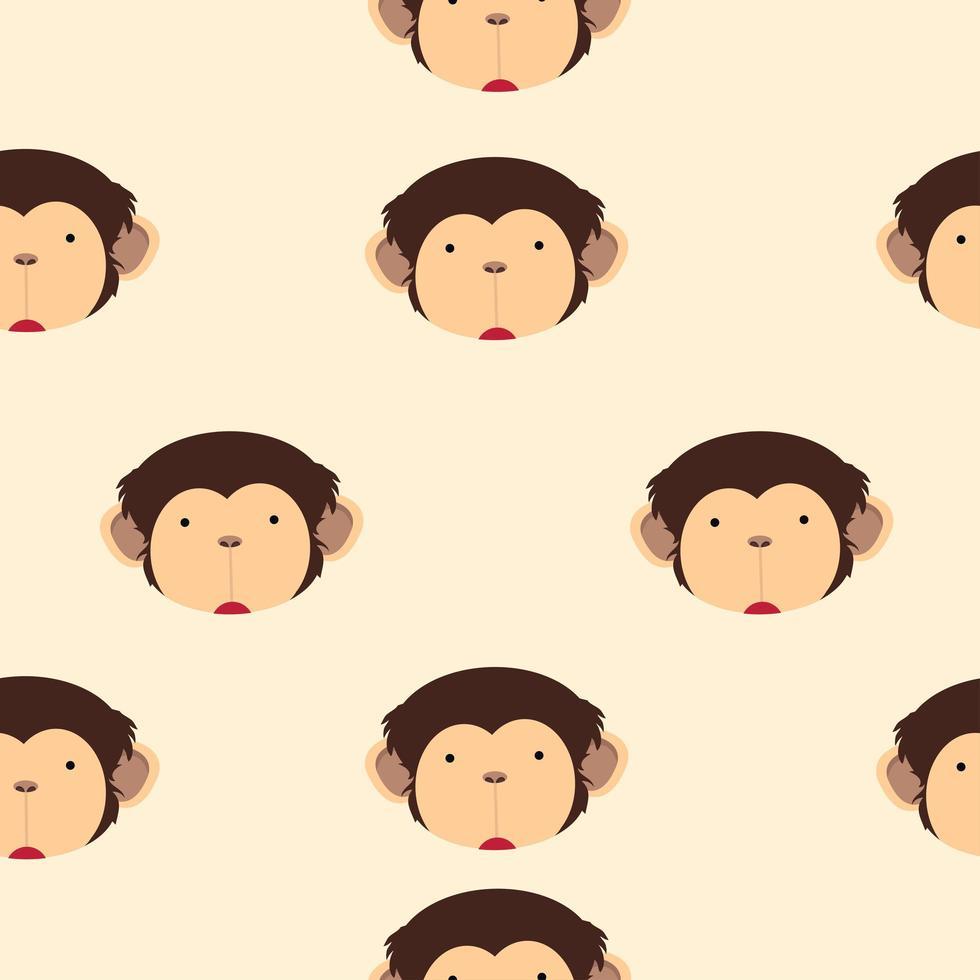 lindo, cabeza, mono, caricatura, seamless, patrón vector