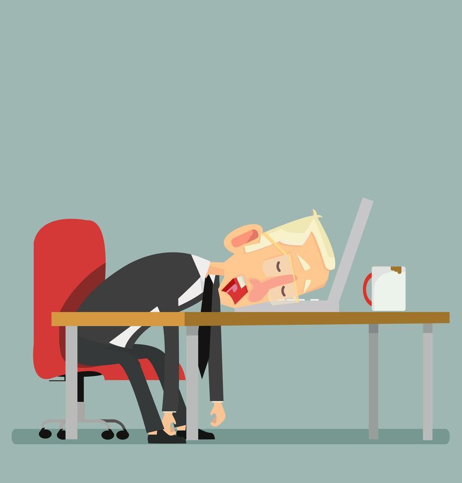 Empresario cansado durmiendo con un portátil y una taza de café vector
