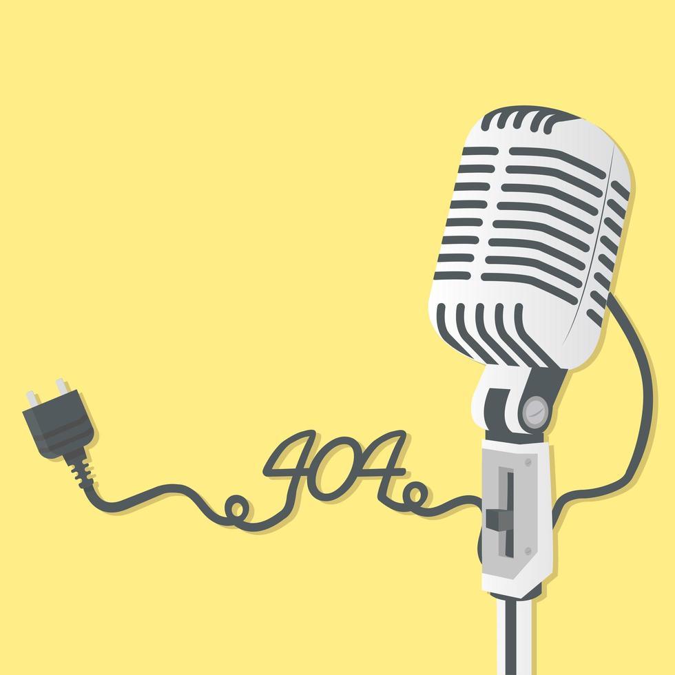 micrófono retro con error 404 vector