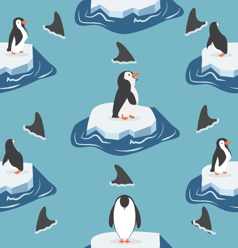 pingüinos en iceberg con patrón de tiburones vector