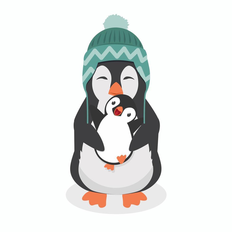 lindo pingüino con pingüino bebé vector