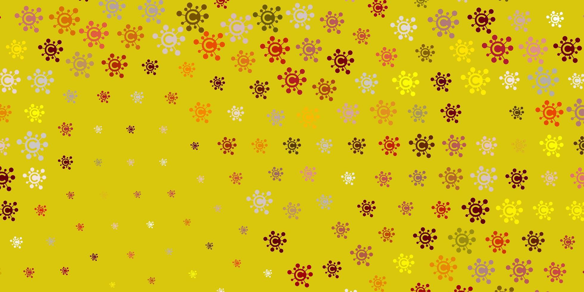 textura de color rojo claro, amarillo con símbolos de enfermedades. vector