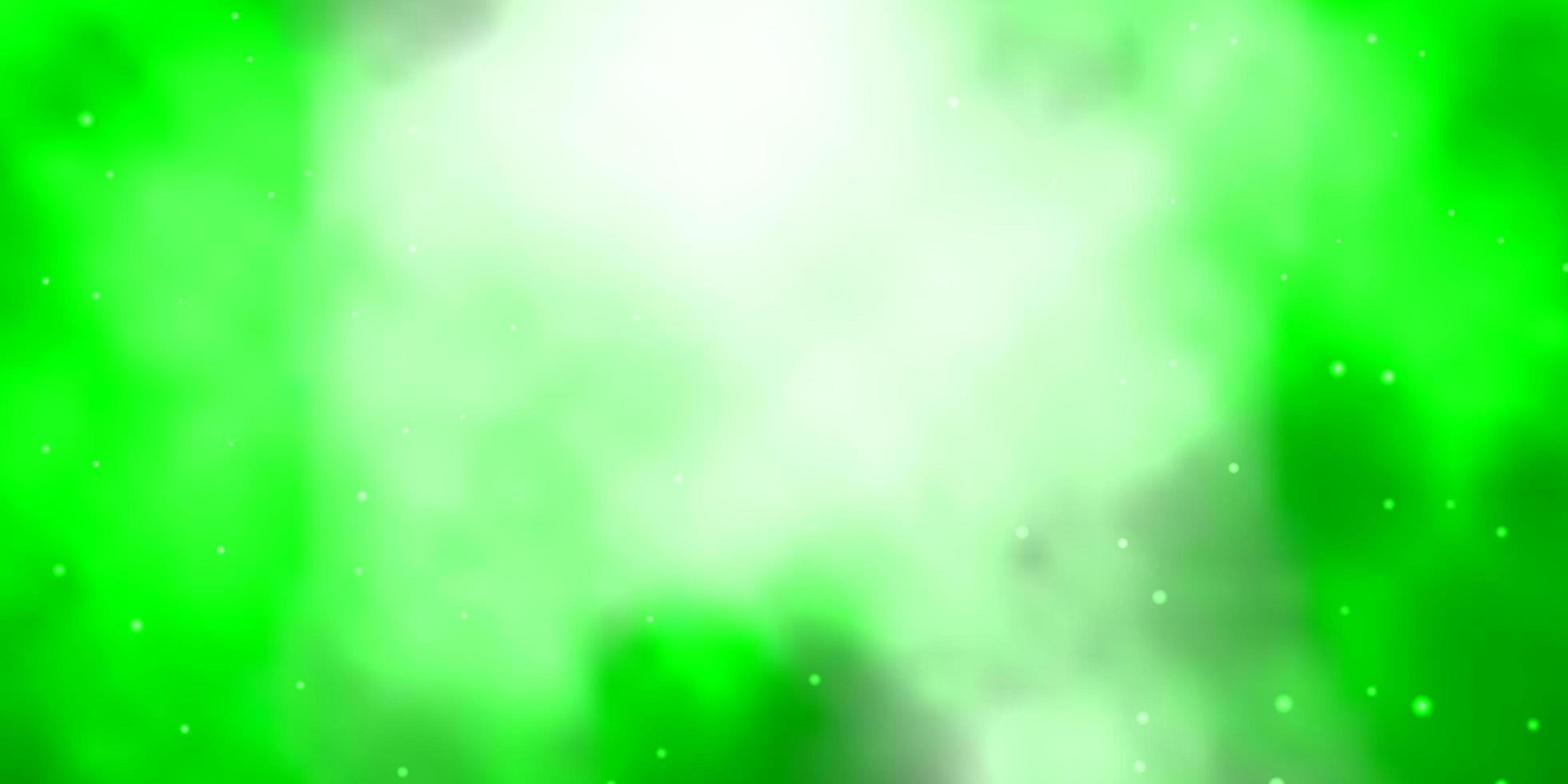 fondo verde claro con estrellas pequeñas y grandes. vector