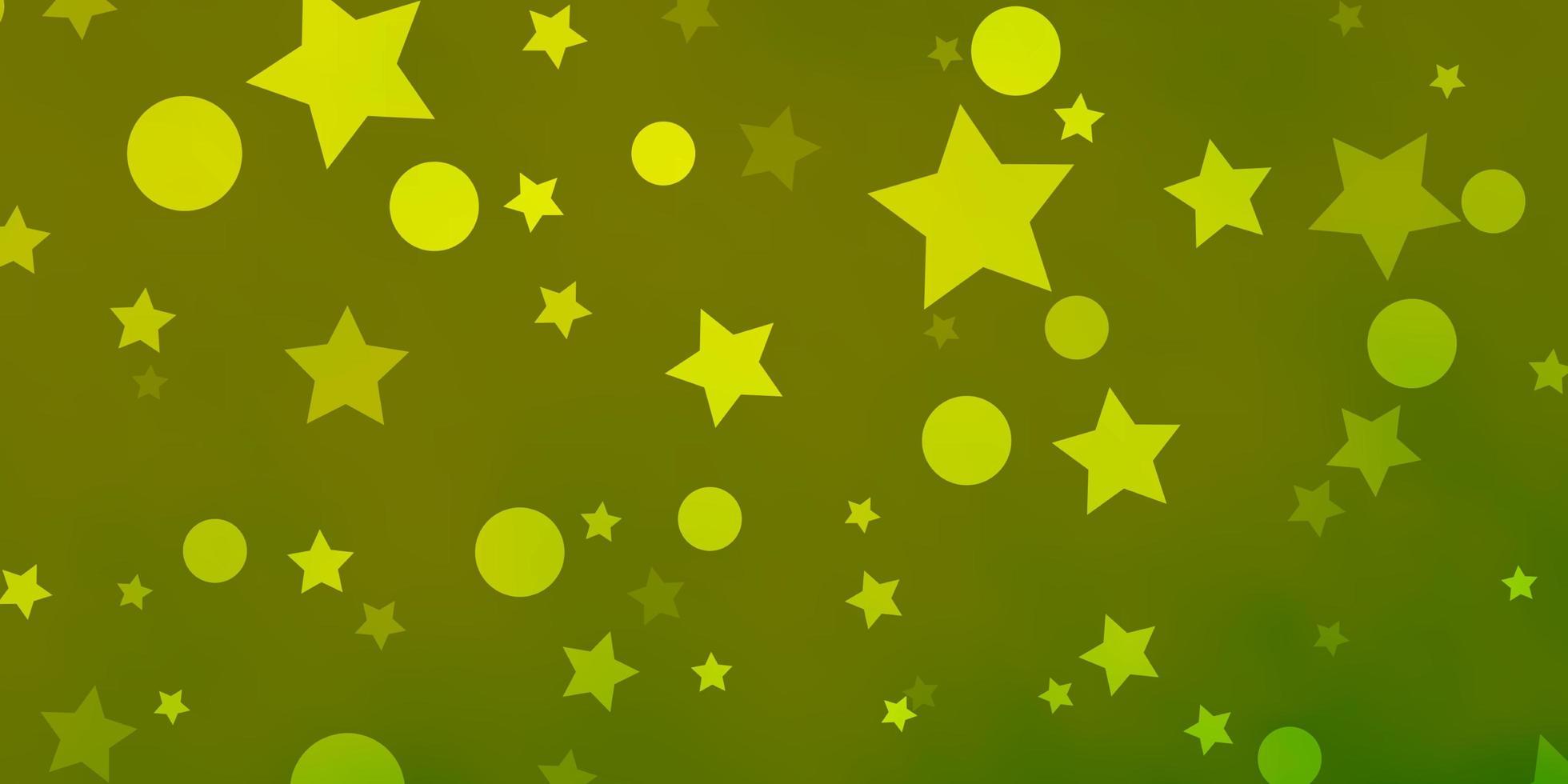 fondo verde claro, amarillo con círculos, estrellas. vector