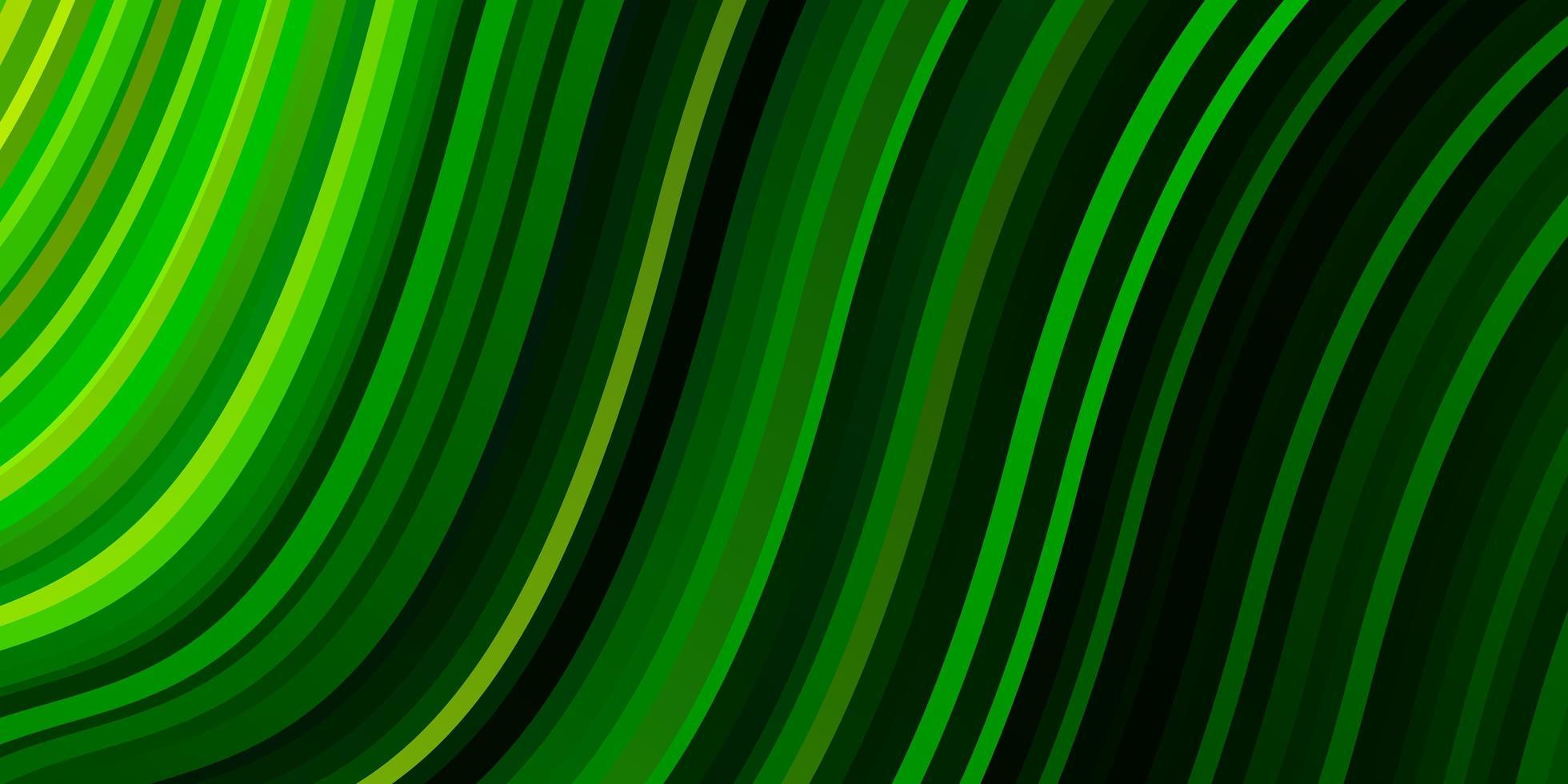 textura de vector verde oscuro con líneas torcidas.