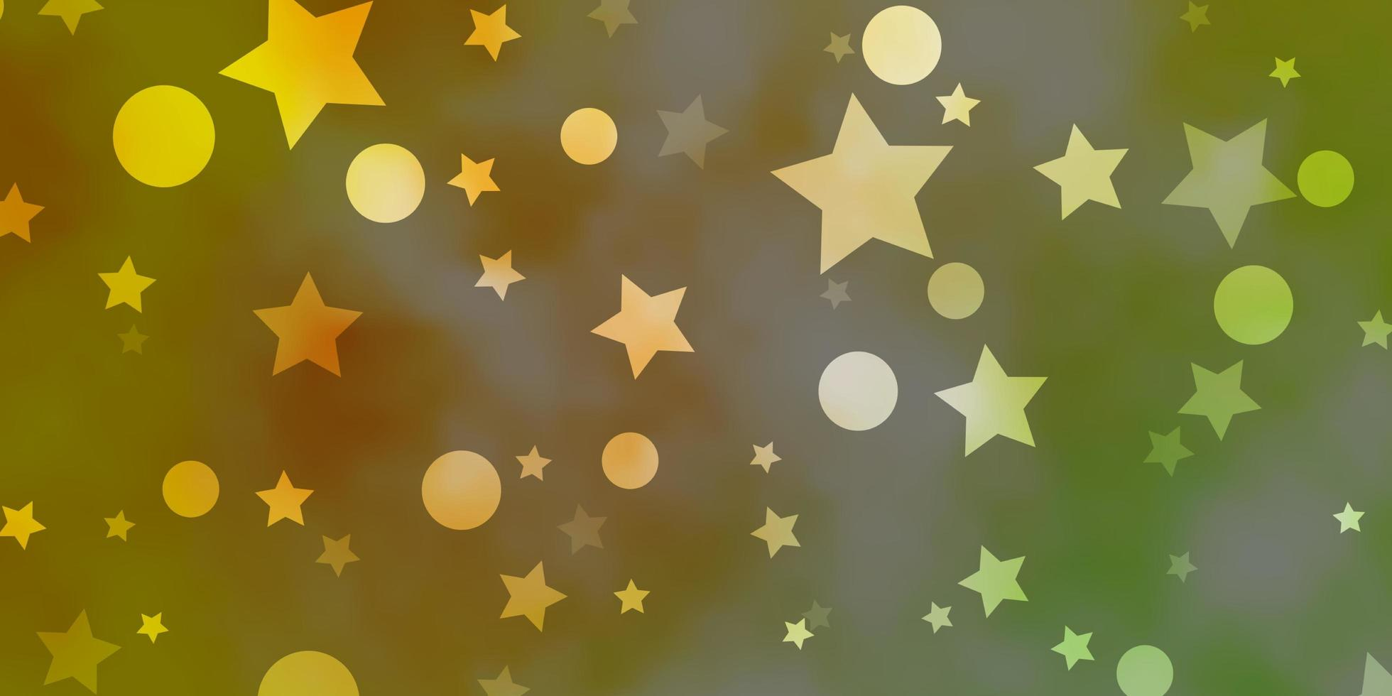 Light Green, Yellow background with circles, stars. vector