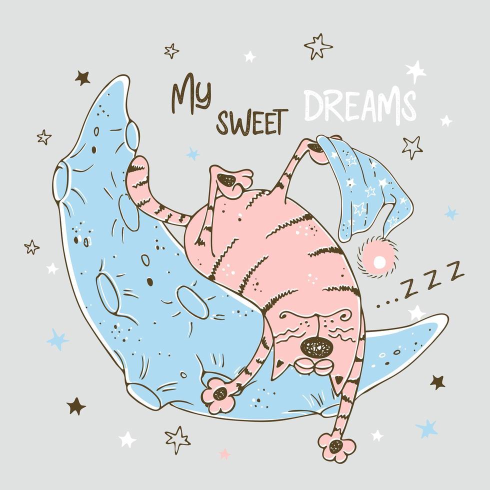 lindo gato rosa durmiendo dulcemente en la luna vector