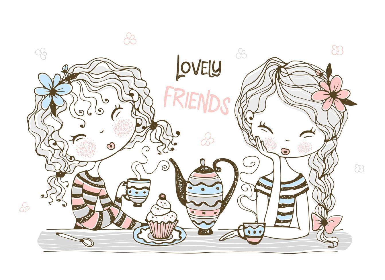 lindas novias beben té vector