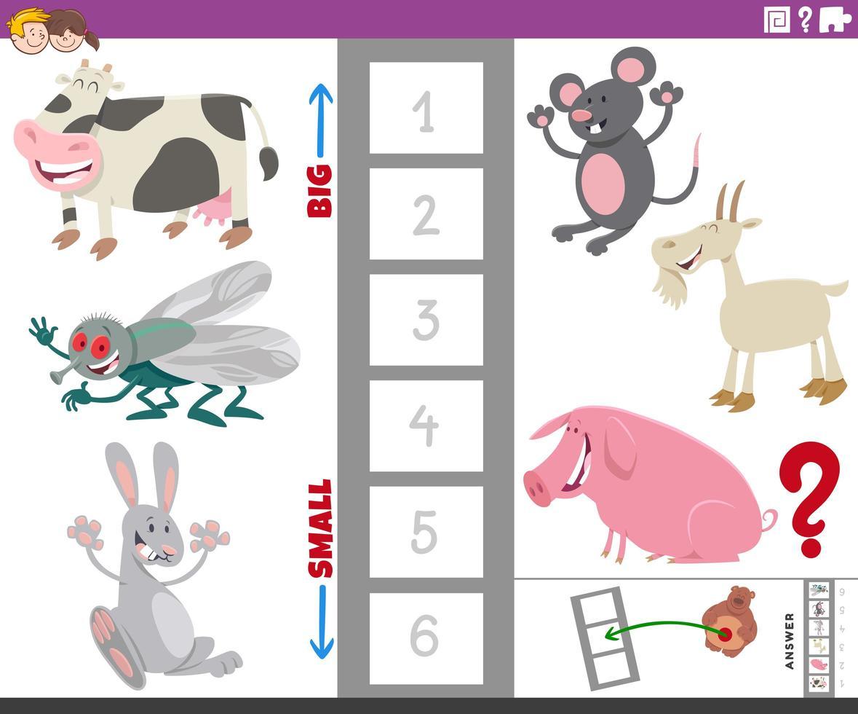 juego educativo con especies animales grandes y pequeñas vector