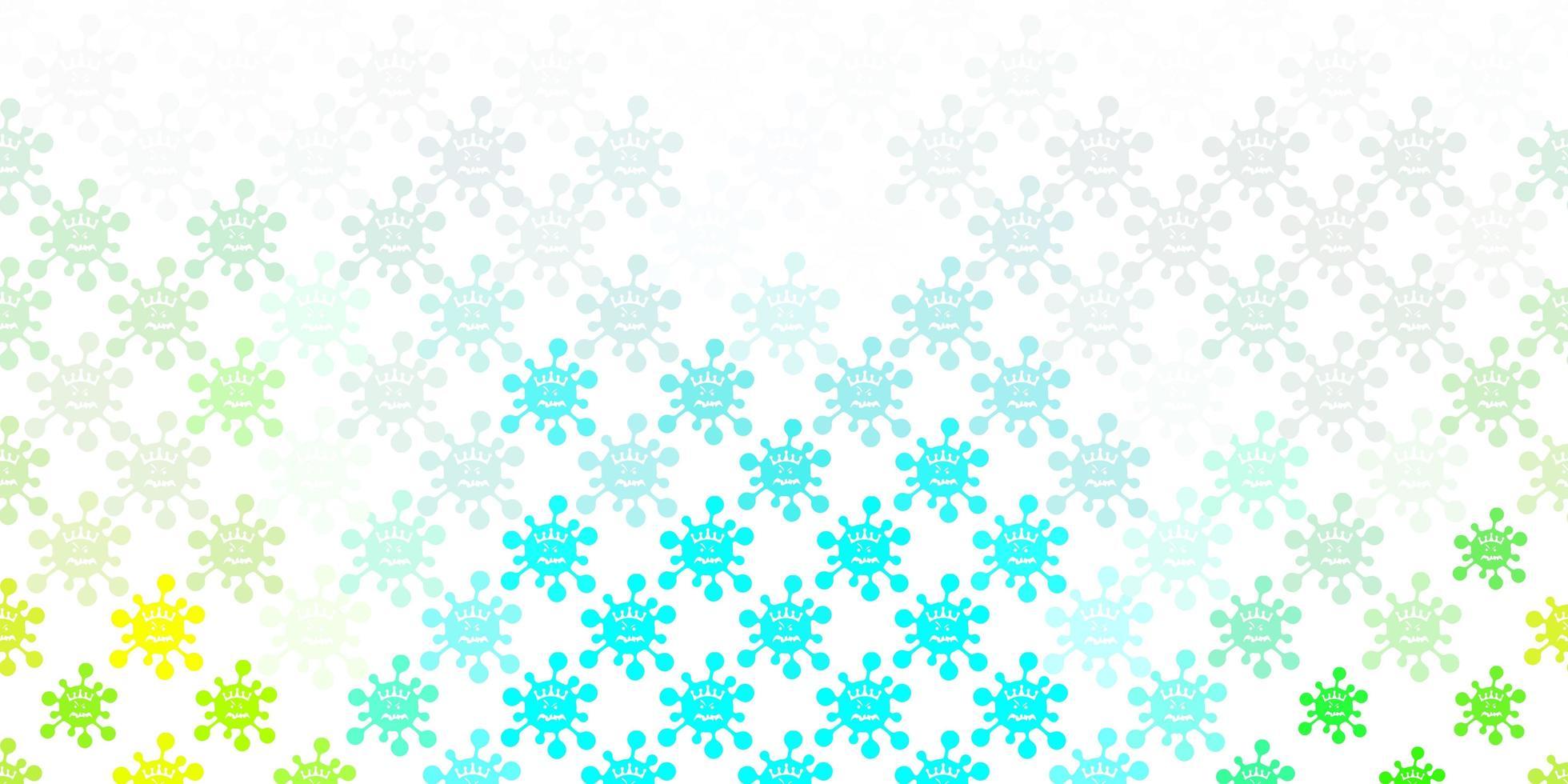 Light Blue, Green pattern with coronavirus elements. vector
