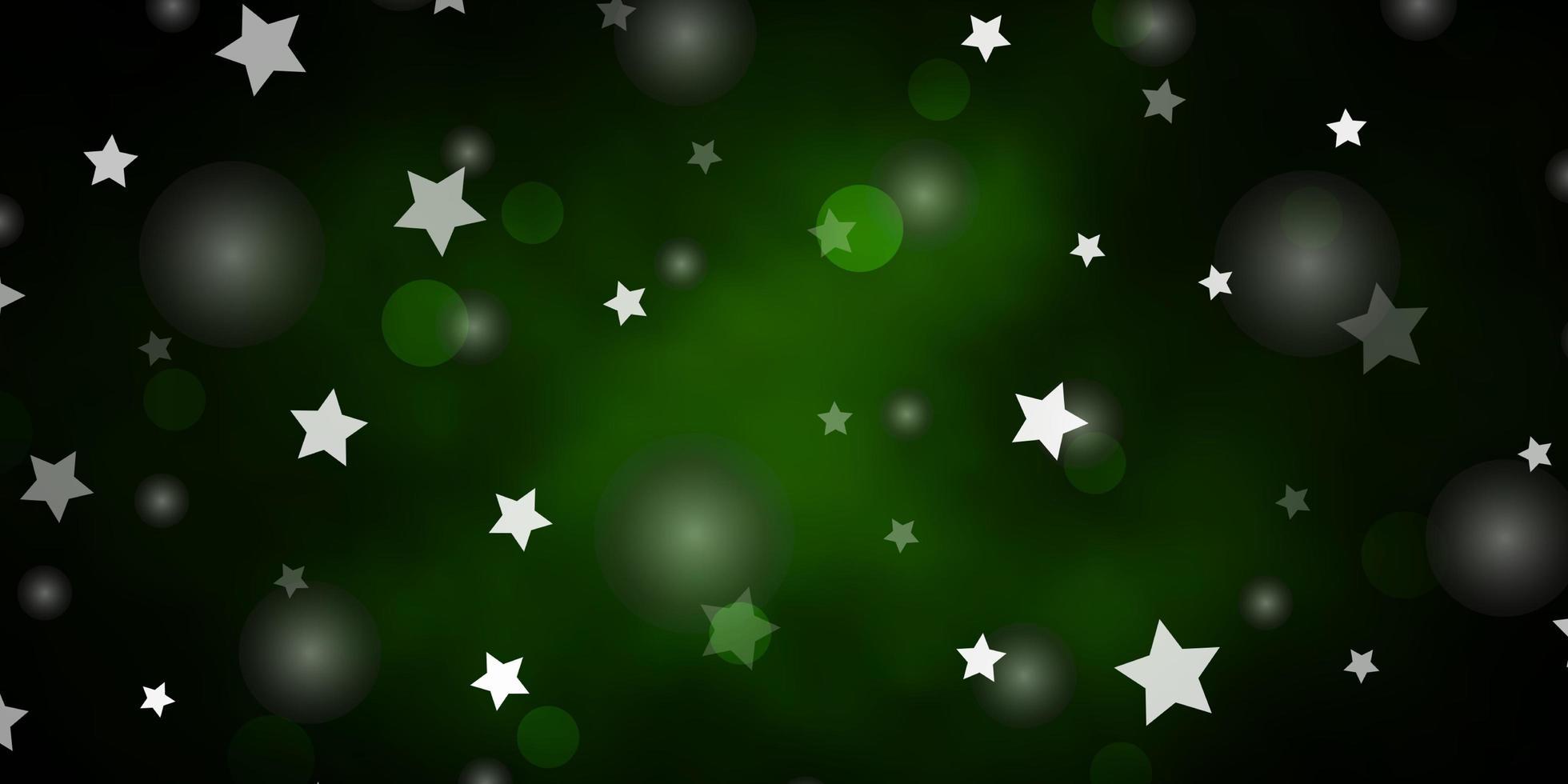 telón de fondo verde oscuro con círculos, estrellas. vector