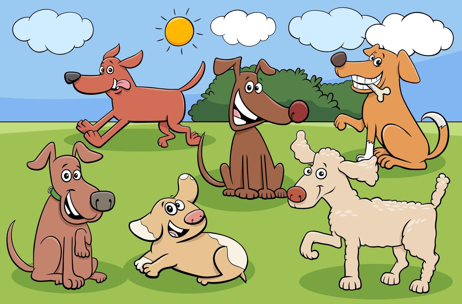 dibujos animados de perros y cachorros grupo de personajes divertidos vector