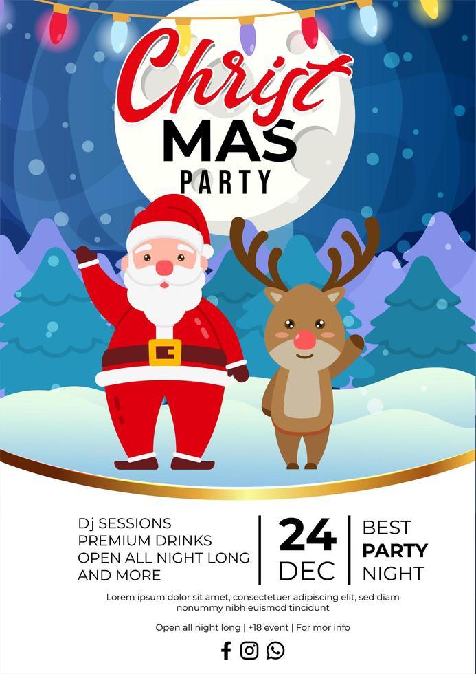 diseño de cartel de evento de fiesta de navidad con lindo santa claus vector