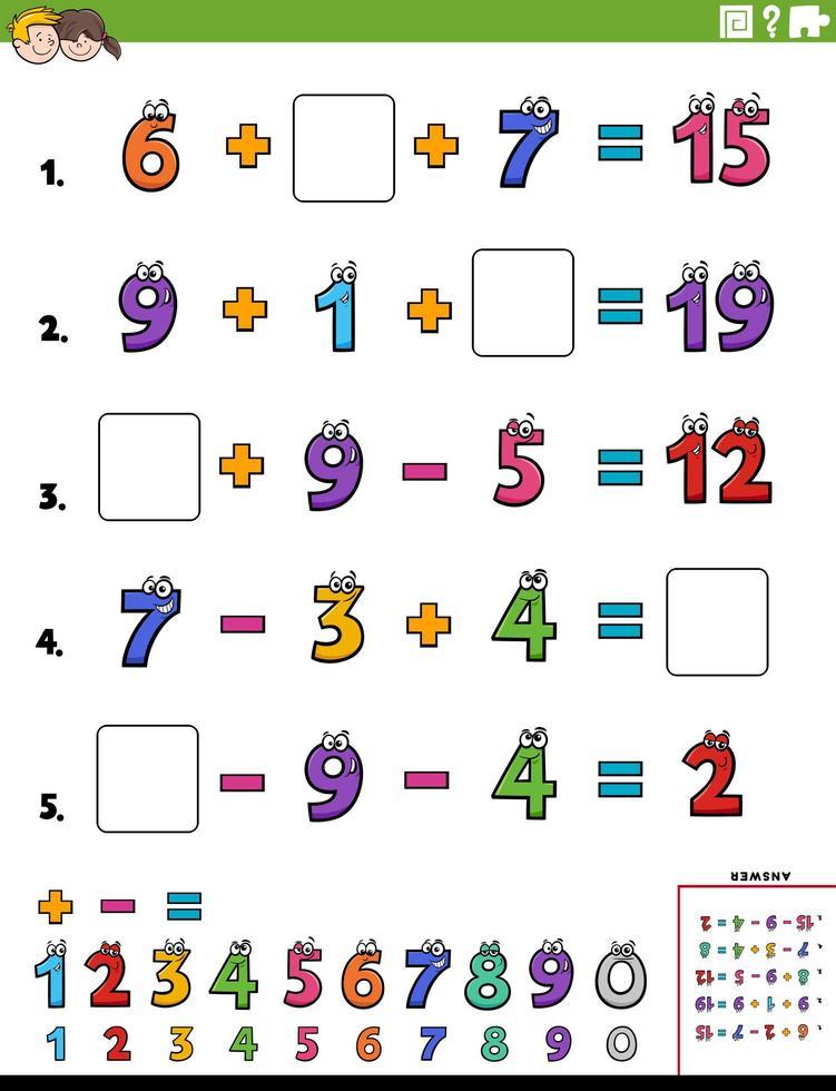 página de hoja de trabajo educativa de cálculo matemático para niños vector