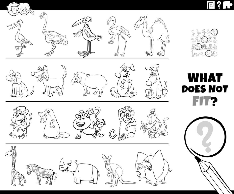 encontrar una imagen incorrecta en una página de libro de color de juego de fila vector