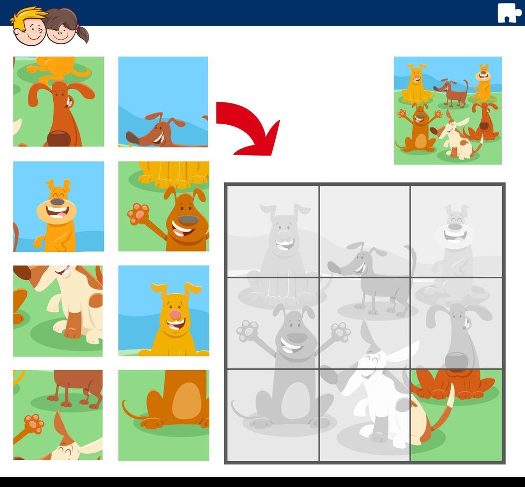 juego de rompecabezas con personajes de dibujos animados de perros vector