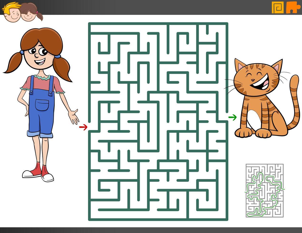 juego de laberinto con niña de dibujos animados y gatito vector