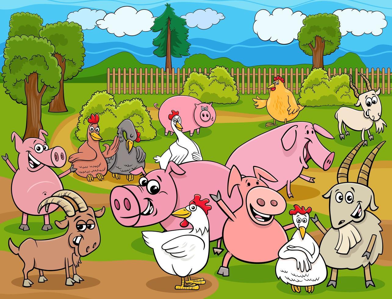 grupo de personajes de dibujos animados de animales de granja vector