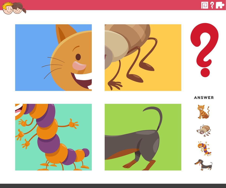 juego de adivinar animales de dibujos animados para niños vector
