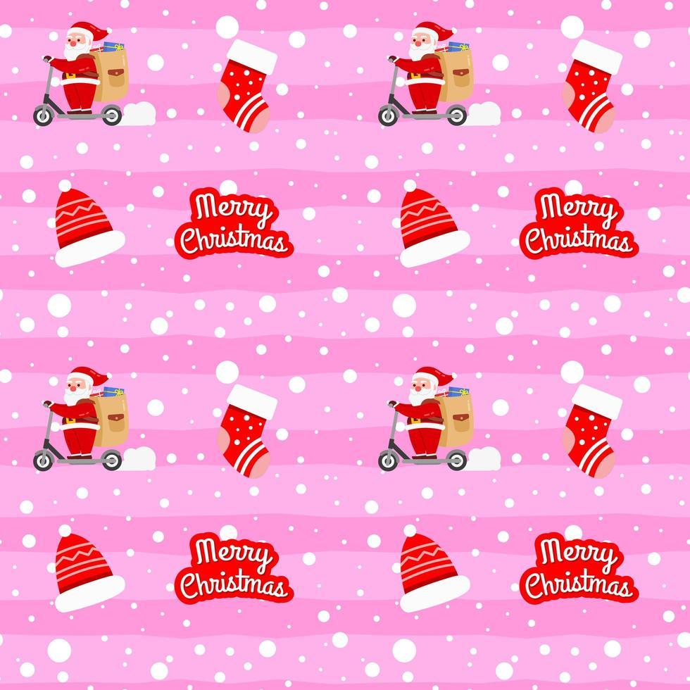 navidad lindo patrón de santa claus con scooter vector
