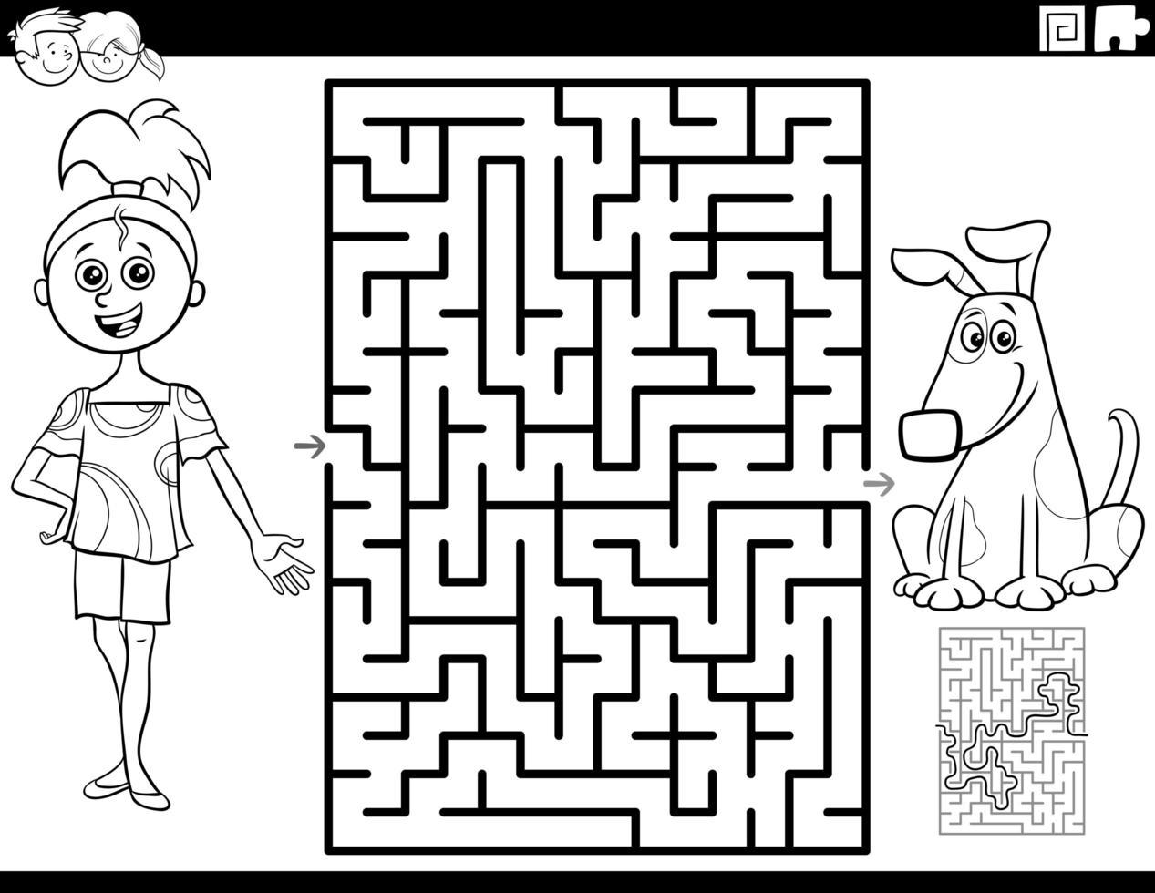 Laberinto con niña y cachorro página de libro para colorear vector