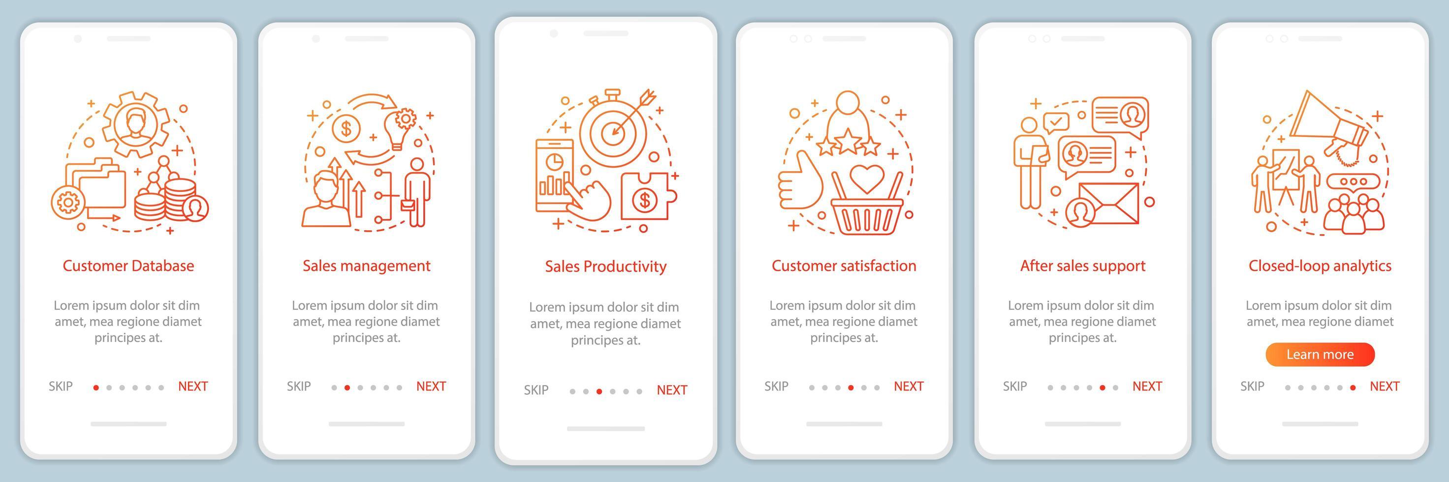 página de aplicación móvil de incorporación de marketing vector