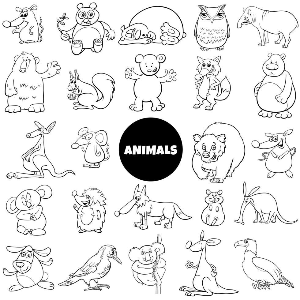Personajes de animales de cómic gran página de libro de color vector
