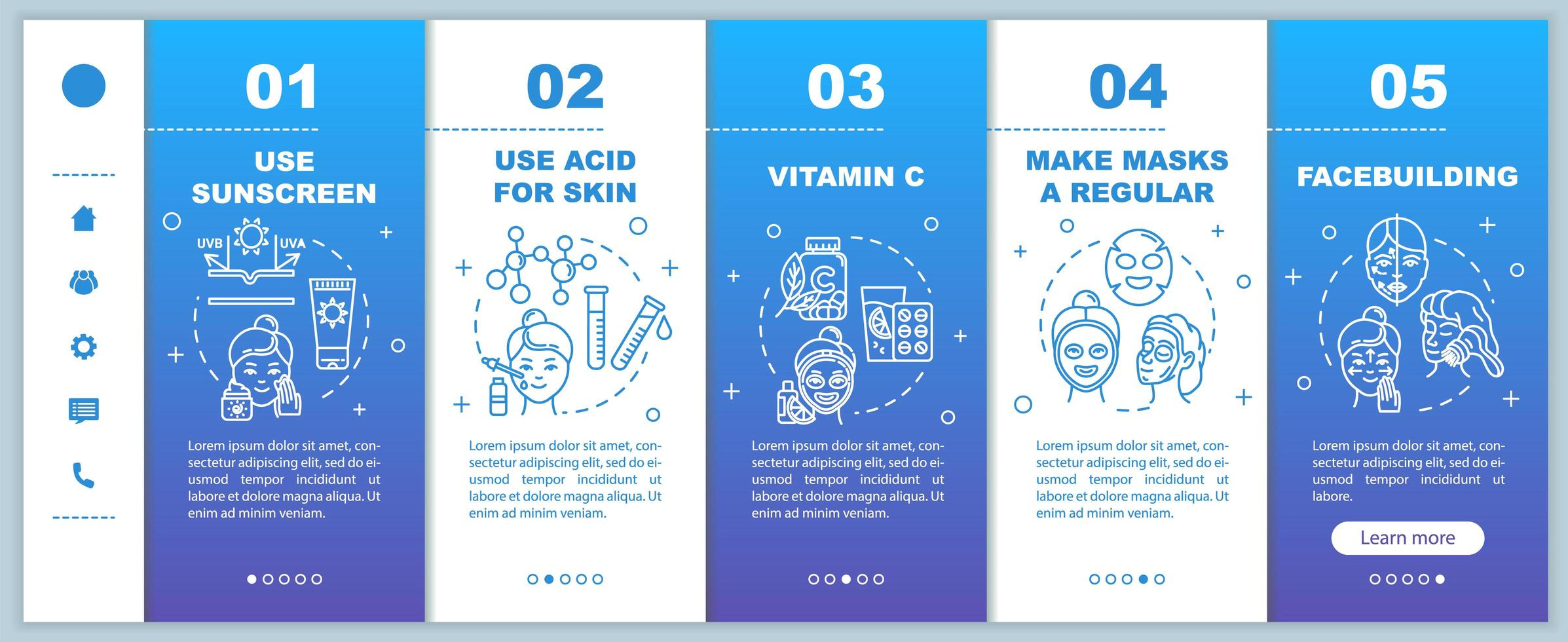 Skincare onboarding template. vector