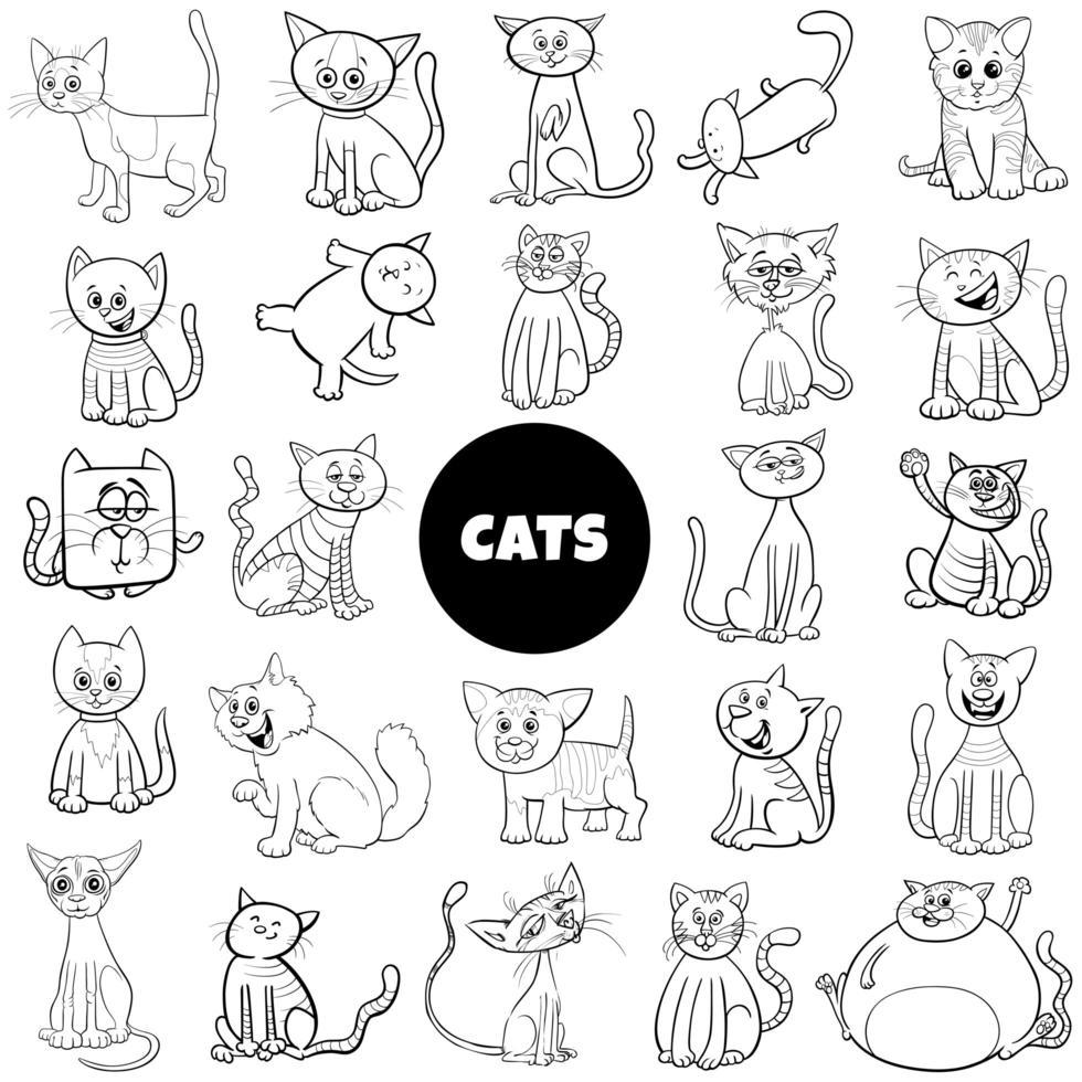 personajes de dibujos animados gato gran página de libro de color vector
