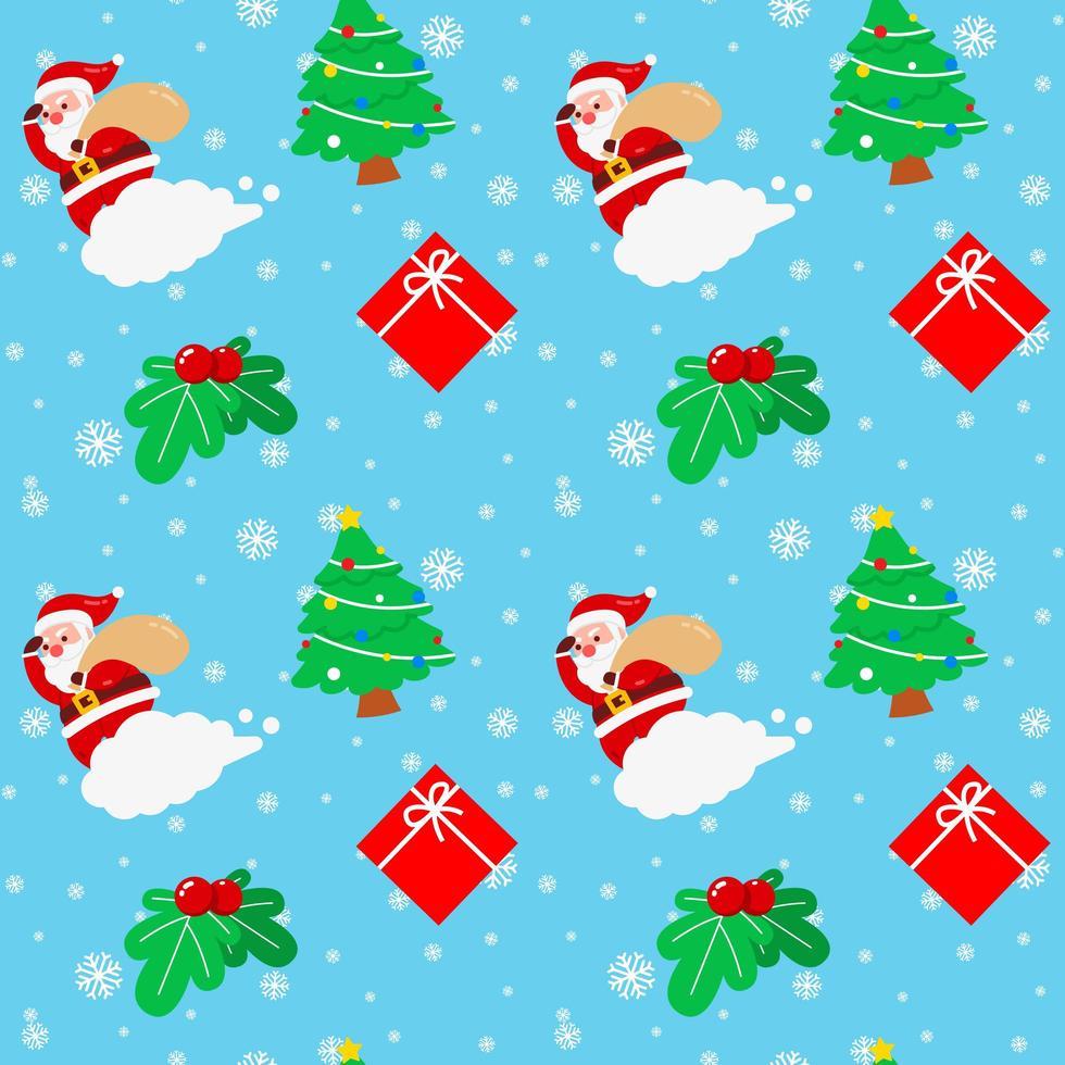 navidad santa claus nube árbol cereza caja de regalo vector