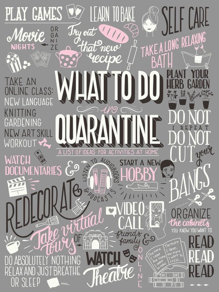 qué hacer en cuarentena, cartel tipográfico vector