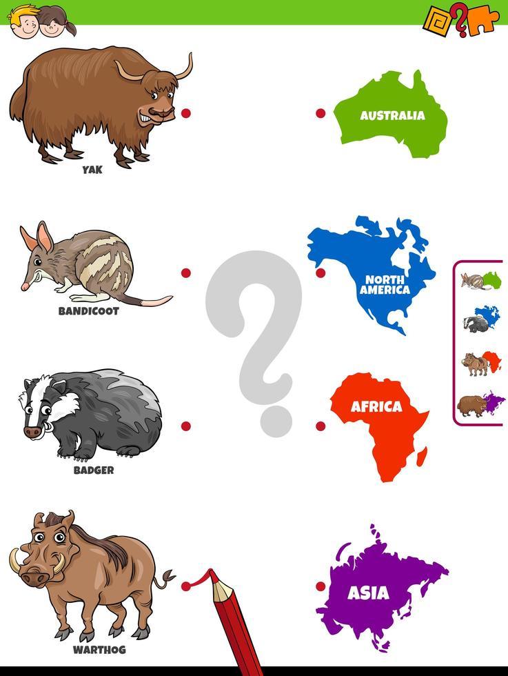 Emparejar animales y continentes juego educativo para niños. vector