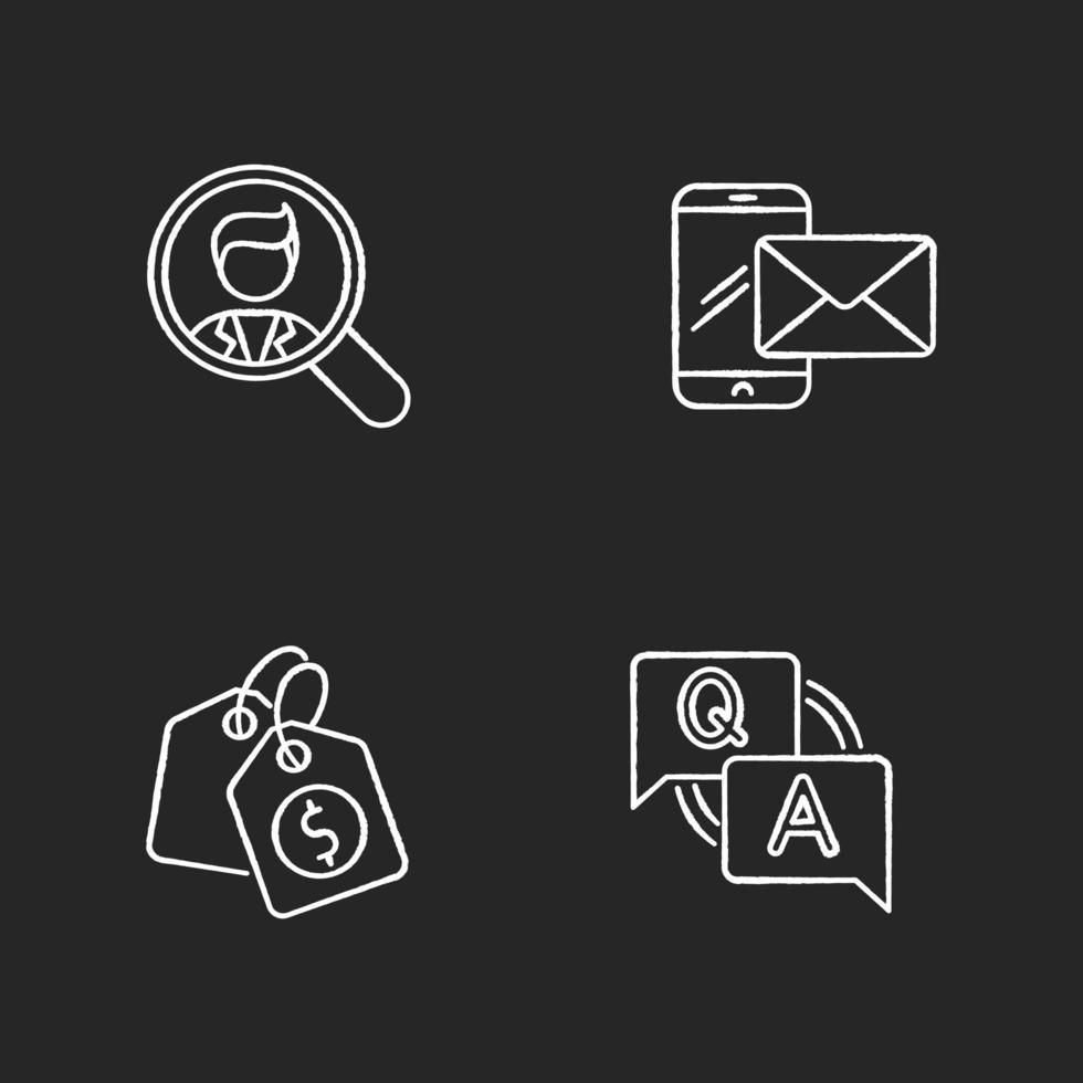 Conjunto de iconos de tiza blanca de reclutamiento de redes sociales vector