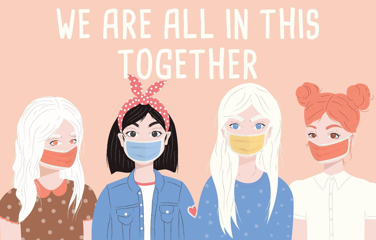 grupo de cuatro mujeres jóvenes con máscaras quirúrgicas. vector