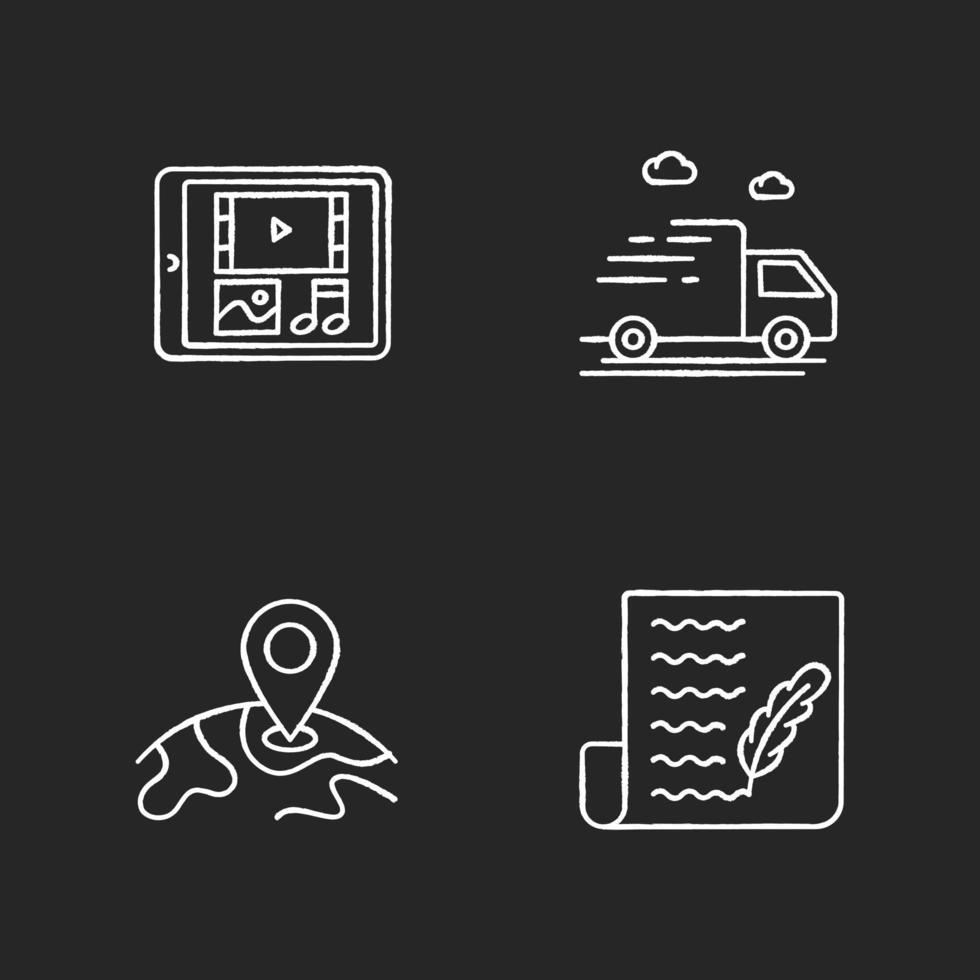 tienda de redes sociales conjunto de iconos de tiza blanca vector