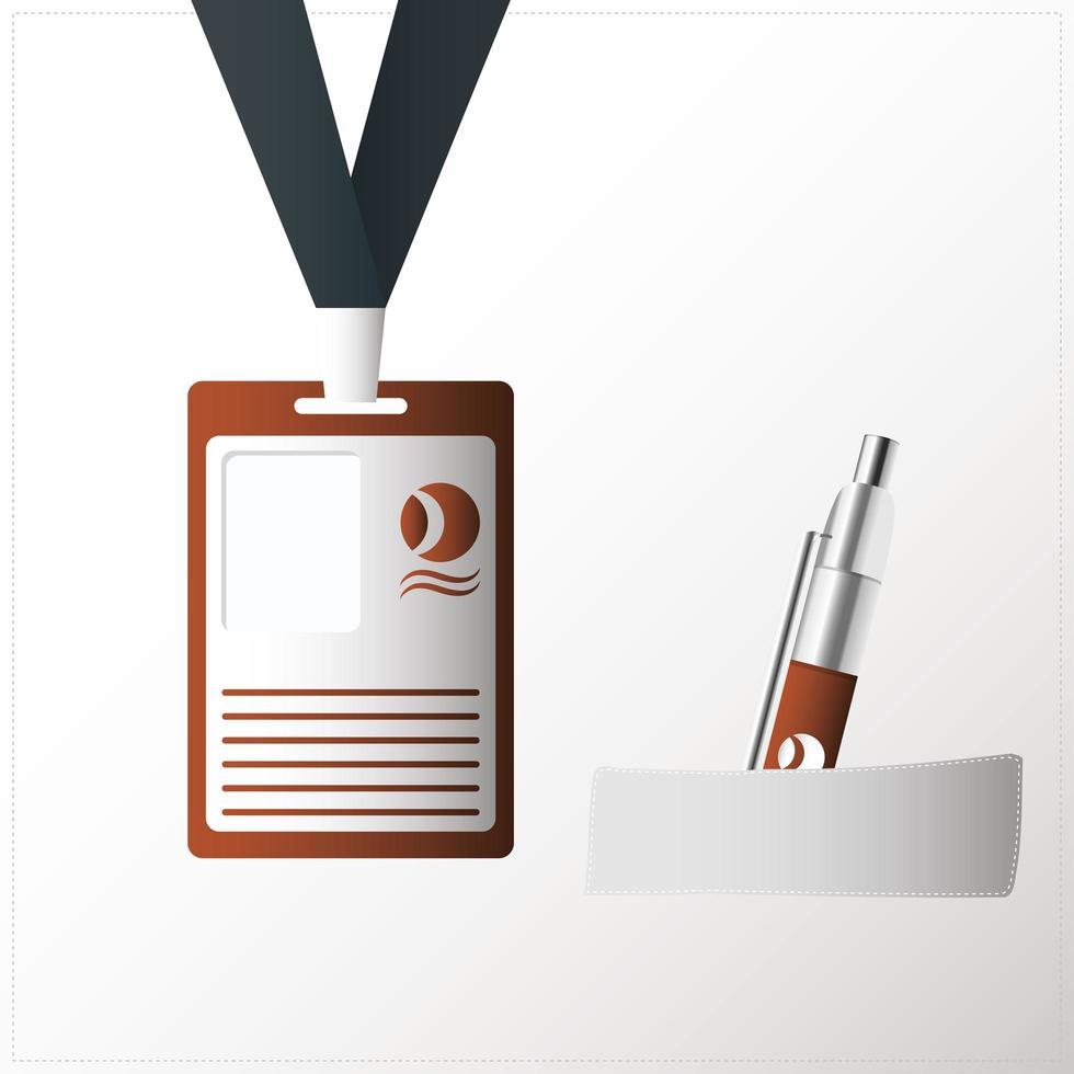 icono de maqueta de bolígrafo y placa de identificación vector