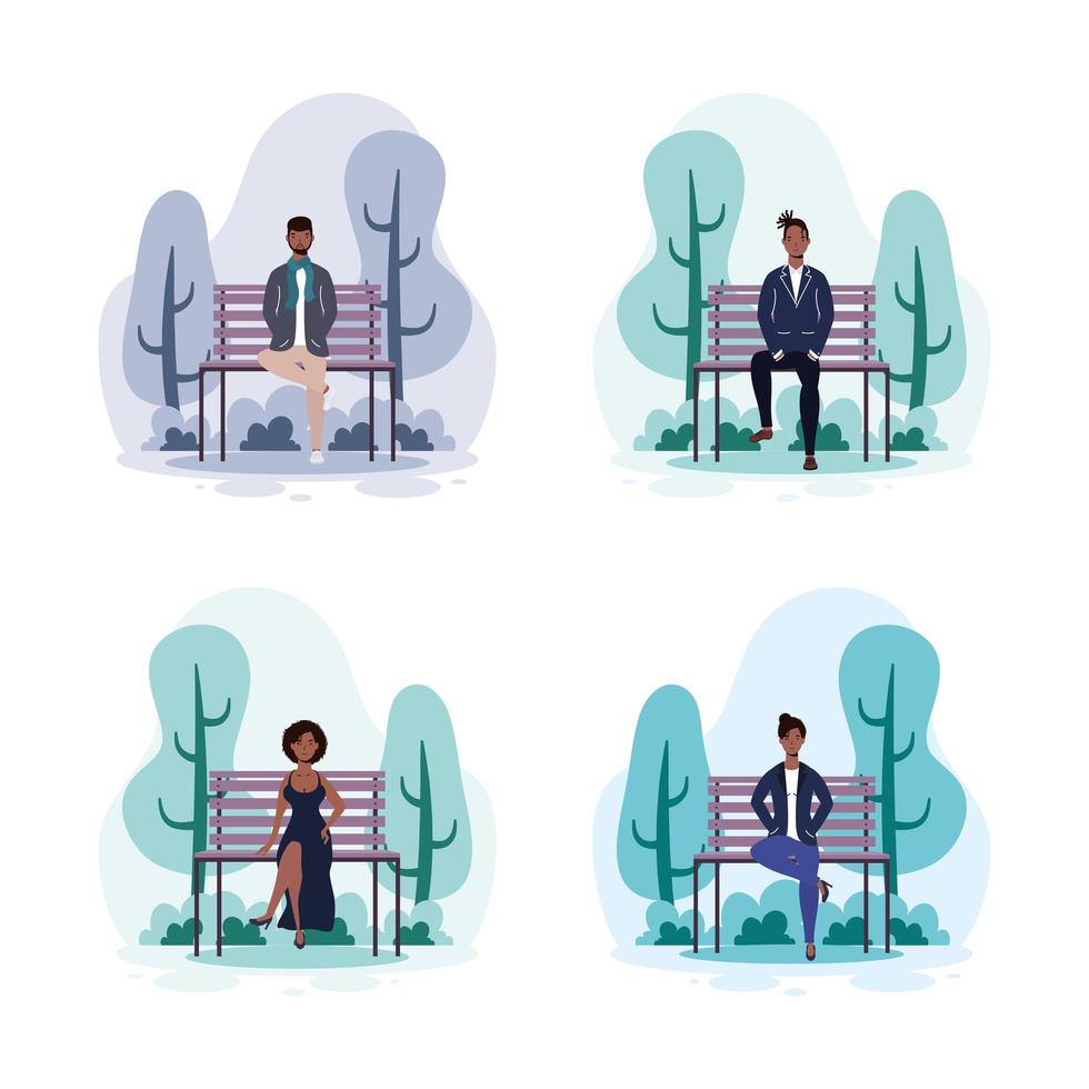 Descendientes africanos sentados en la silla del parque vector