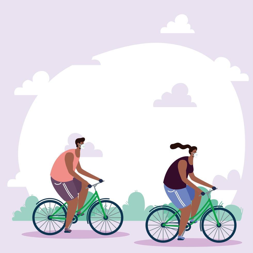 Personas con mascarillas en bicicleta al aire libre. vector