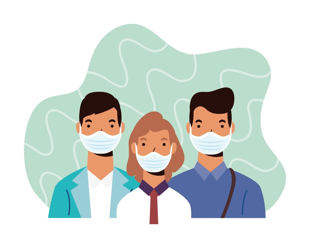 personajes de personas diversas con máscaras faciales vector