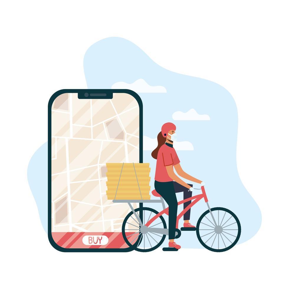 Entrega de comida con mensajero en bicicleta femenino y teléfono inteligente vector