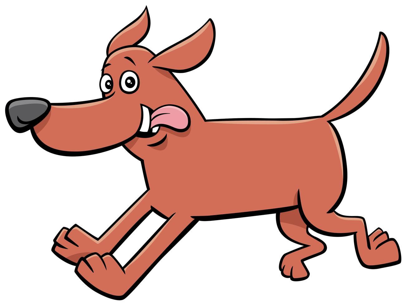 dibujos animados feliz corriendo perro personaje animal vector